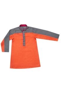 Orange & griffin color blocked kurta