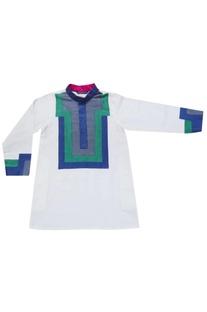 White kurta with bosphorous embellishment