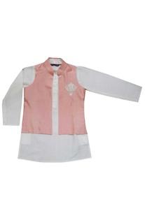 White kurta with coral jacket