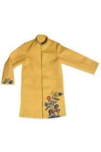 Yellow embroidered kurta