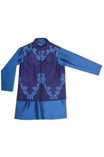 Blue kurta with jacket
