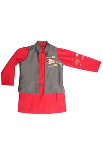 Red kurta with grey jacket