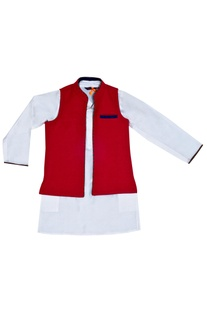 White kurta with a red reversible jacket