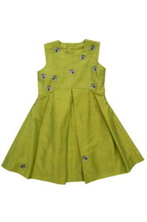 Lime green embroidered pleated dress