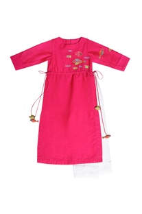 Pink embroidered tunic with pants