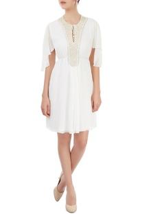White embellished short dress