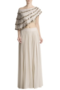 White palazzo set with embellished cape