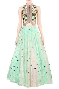 Bottle green embroidered bridal lehenga set