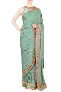 Jade green embellished sari with blouse