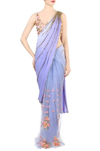 Lilac embellished sari with blush pink blouse
