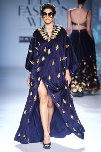 Dark blue skein work kaftan gown