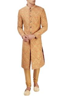 Orange embroidered sherwani