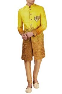 Yellow & orange embellished sherwani