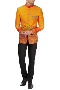 Orange embroidered bandhgala