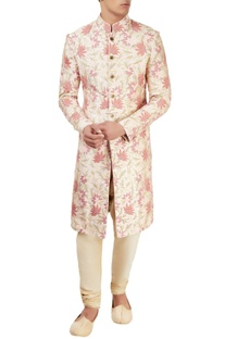 Pale pink embroidered sherwani