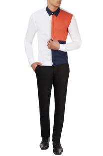 White shirt with orange and blue panels