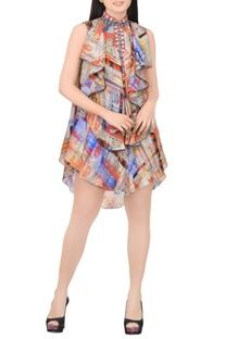 Blue & orange printed dress with ruffles