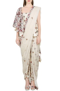 Ivory one shoulder blouse with dhoti pants & dupatta