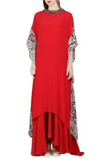 Coral red kaftan dress & asymmetric skirt