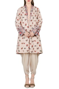 Ivory printed jacket & dhoti pants
