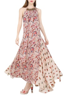 Ivory floral print maxi dress
