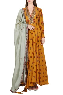 Ochre & grey anarkali set