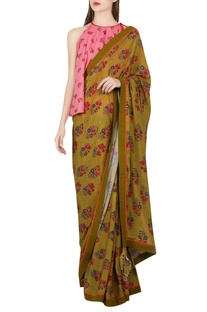 Olive green sari with salmon pink blouse
