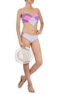 Purple & grey paneled bikini set