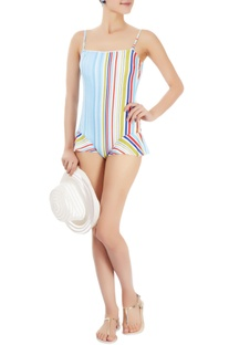 Multi coloured striped one-piece