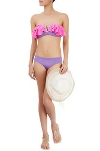 Purple & grey bikini set with frills