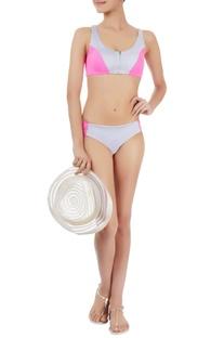 Grey & pink bikini set with a purple back