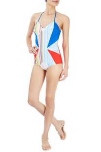 Multi-coloured striped and paneled one-piece