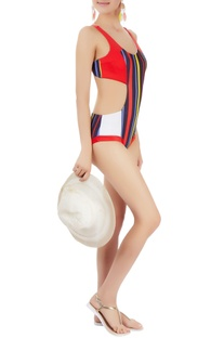 Multi coloured paneled monokini with stripes