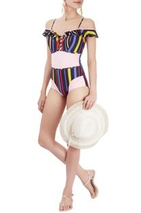 Multi-coloured one-piece with stripes