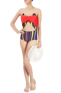Multi coloured strapless one-piece with stripes