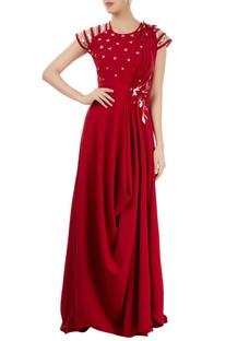 Marsala draped gown