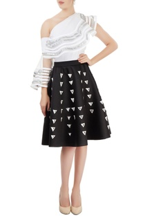 Black applique skater skirt