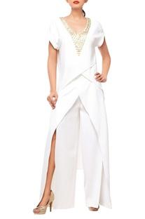 White pant set with embellishments