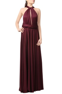Wine gown with cross back
