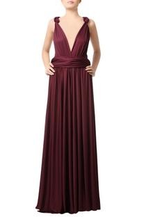 Wine deep neck gown