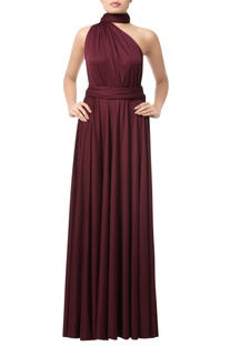 Wine one shoulder gown