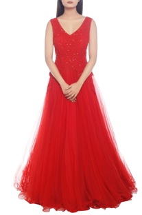 Red embellished gown