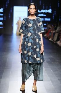 Indigo blue printed salwar