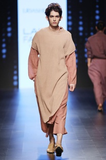 Light tan crinkled kurta