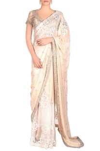 Ivory shimmer sari with embellishments