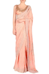 Peach sari & blouse with sequin embroidery