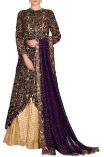Purple jacket lehenga set with beaded embroidery