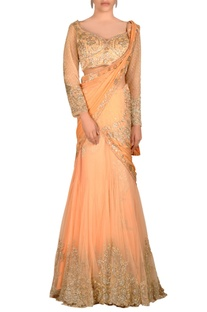 Peach lehenga sari with jewel embroidered drape