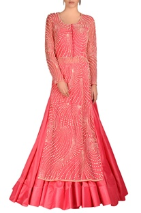 Rose pink lehenga set with jaal embroidery