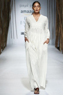 Ivory gathered & embroidered maxi